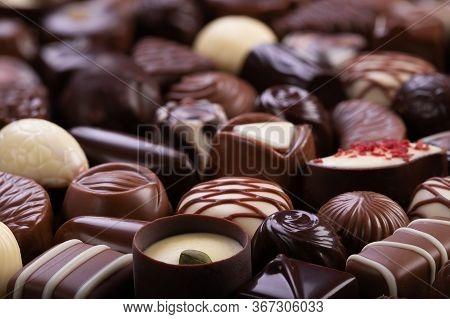 Set Of Chocolate Candies Background, Sweet Dessert Praline