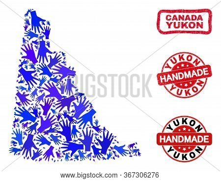 Vector Handmade Composition Of Yukon Province Map And Rubber Watermarks. Mosaic Yukon Province Map I
