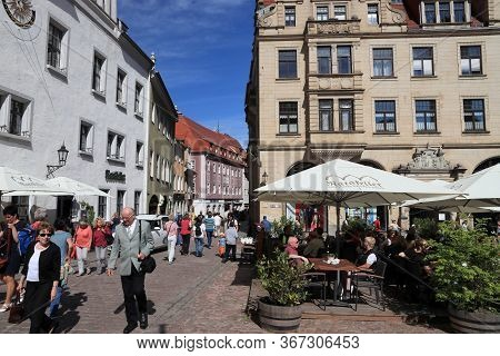 Meissen, Germany - May 5, 2019: People Visit Markt, Main Square Of Meissen Old Town, Germany. Meisse