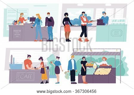 Cashier, People Wearing Masks Queue. Restaurant, Food Court, Street Farmer Market, Grocery Shop, Can