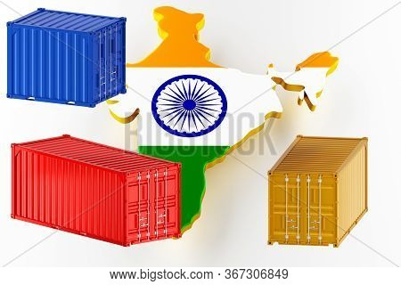3d Map Of India. Freight Shipping In Containers. Export From The Country In Containers. 3d Rendering