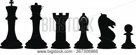 Vector Illustration Set Of Chess Pieces, Blacks And Whites, Contains All Pieces: King, Queen, Tower,