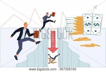 Financial Crisis Business Crash Due Coronavirus. Businesspeople Try Conquer Obstacle. Economics Depr