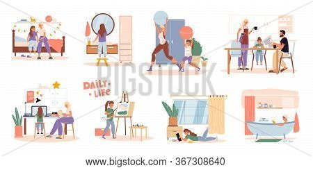 Family Children Daily Routine Everyday Activities Scene Set. Parent Kid Work, Rest, Do Sport. Daught