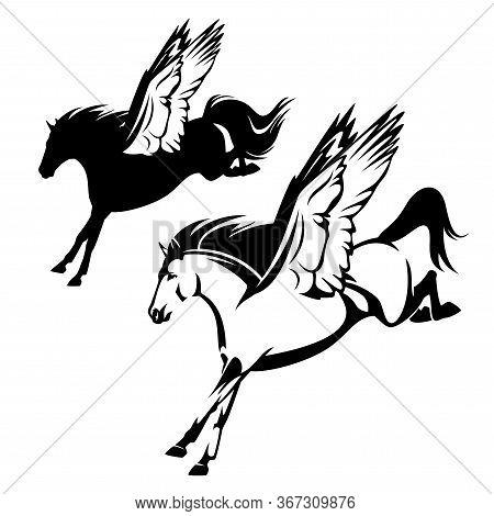 Pegasus Winged Horse Flying Forward - Greek Mythology Inspiration Symbol Animal Black And White Vect