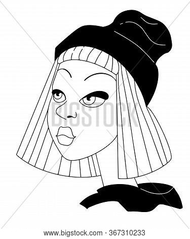 Cool Teen Girl Hipster In Beanie Hat. Portrait Hand Drawing In Line Style Black And White Vector Ill