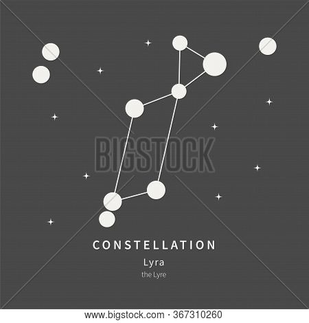 The Constellation Of Lyra. The Lyre - Linear Icon. Vector Illustration Of The Concept Of Astronomy.