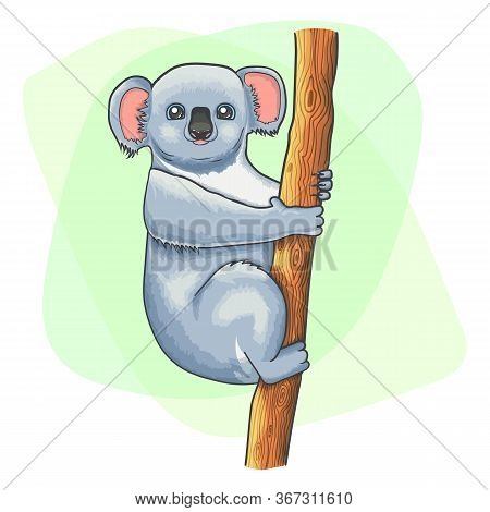 Cute Cartoon Koala Clung To A Tree. Endangered Animal Species From Australia. Vector Illustration Of