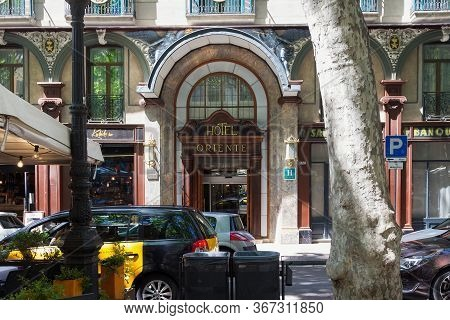 Barcelona, Spain - May 15, 2017: View Of The Entrance To The Oriente Atiram Hotels Ramblas In Barcel