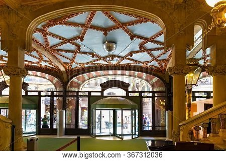 Barcelona, Spain - May 15, 2017: Interior Of The Palace Of Catalan Music (the Palau De La Musica Cat