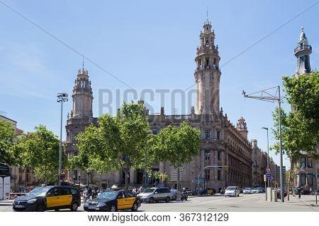 Barcelona, Spain - May 15, 2017: View Of The Correos Building. The Sociedad Estatal De Y Telegrafos,