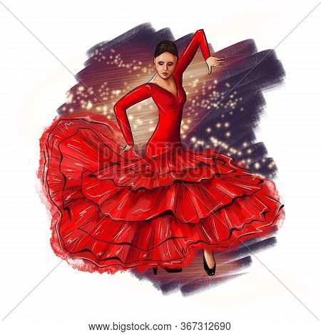Spanish Woman Dancing Flamenco. Girl In Red Dress, Latina Festival, Celebration. Female Dancer, Whit