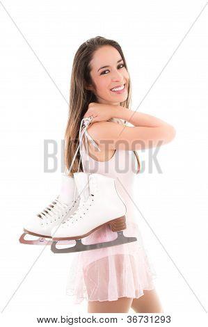 Smiling Figure Skater or Ice Dancer with Skates