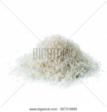 Close Up Of A Coconut And Grounded Coconut Flakes, Coconut Isolated On White Background
