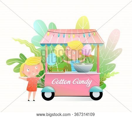 Cute Kids Buying Cotton Candy At The Fair Stall. Little Girls Selling And Buying Candy Floss In The