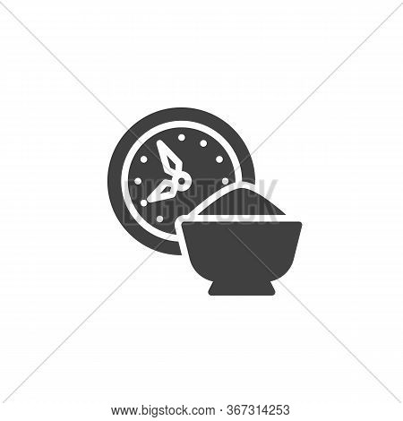 Time For Iftar Vector Icon. Filled Flat Sign For Mobile Concept And Web Design. Clock And Iftar Food