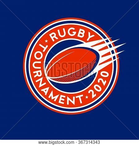 Rugby Tournament Logo. Ball In The Circle With Letters. Rugby Ball Like Comet.
