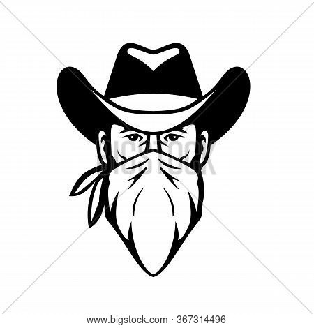 Black And White Illustration Of Head Of Bandit, Outlaw Or Highwayman Wearing Cowboy Hat And Face Mas