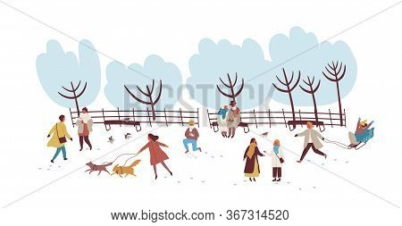 Crowd Of People Enjoying Winter Outdoors Activity At Park Vector Flat Illustration. Colorful Men, Wo