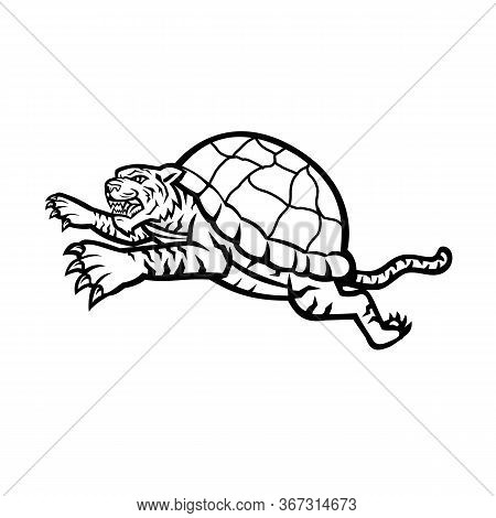 Mascot Icon Illustration Of Head Of A Turtle Tiger, A Tiger That Is Half Turtle With Shell Leaping J
