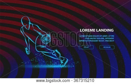 Basketball Player Dribbling With A Ball. Vector Sport Background For Landing Page Template.