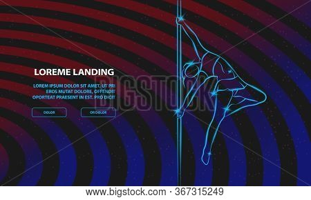 Girl On The Pole. Vector Pole Dance Background For Landing Page Template.