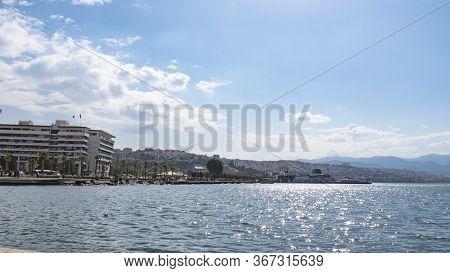 Izmir, Turkey - October 2017: Izmir City Center Panoramic View From Seaside. The View Of Konak, Izmi