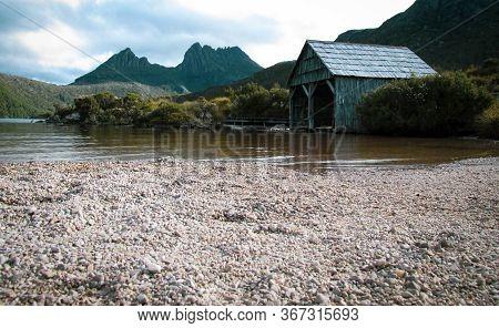 Dove Lake And A Boat House In Cradle Mountain-lake St Clair National Park, Tasmania, Au. The Shack I