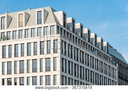 Berlin, Germany - July 28, 2019: Luxurious Office Building With Stone Facade On Pariser Platz Next T