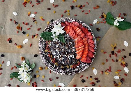 Homemade Strawberry Cheese Cake With Raisins And Dry Fruits, Triple Chocolate Curls, Multi Coloured