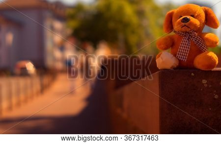 A Small Cuddly Toy Was Sitting On A Wall Ledge