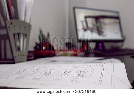 Engineering Drawing On The Background Of A Computer With Engineering Program. Selective Focus. Engin