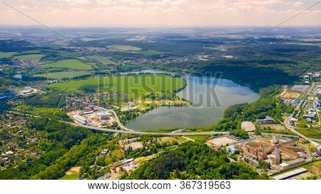 The Ceske Udoli Reservoir on Radbuza River is dam in Pilsen. Aerial view to important source of sustainable energy in Czech Republic.