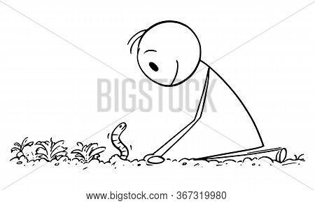 Vector Cartoon Stick Figure Drawing Conceptual Illustration Of Farmer Or Gardener Looking At Dew Wor