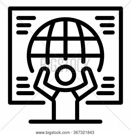 Global Ecologist Icon. Outline Global Ecologist Vector Icon For Web Design Isolated On White Backgro