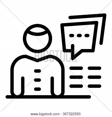 Ecologist Chat Info Icon. Outline Ecologist Chat Info Vector Icon For Web Design Isolated On White B