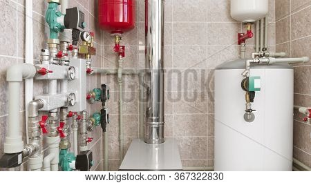 House Boiler Room Interior With Modern Water Heating System