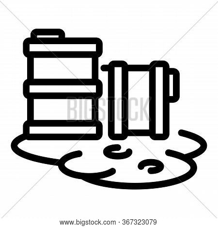 Nuclear Barrel Hazard Icon. Outline Nuclear Barrel Hazard Vector Icon For Web Design Isolated On Whi