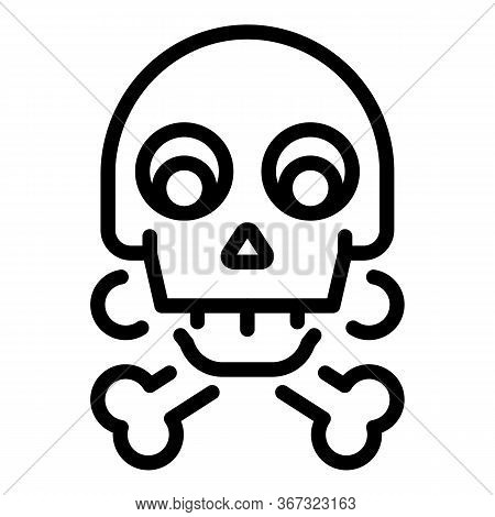 Biohazard Skull Icon. Outline Biohazard Skull Vector Icon For Web Design Isolated On White Backgroun
