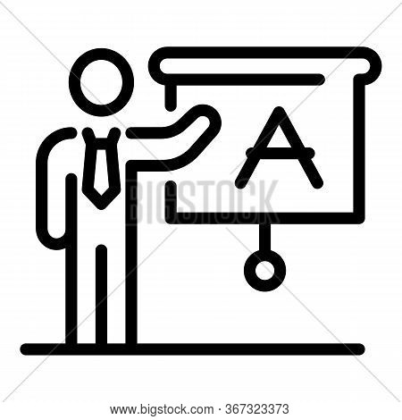 Foreign Language School Teacher Icon. Outline Foreign Language School Teacher Vector Icon For Web De