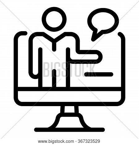 Online Lesson Teacher Icon. Outline Online Lesson Teacher Vector Icon For Web Design Isolated On Whi