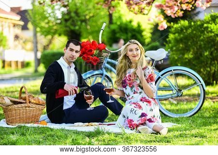 Couple In Love Celebrate Anniversary Picnic Date. Melt Her Heart. Create Something For Her. Enjoying