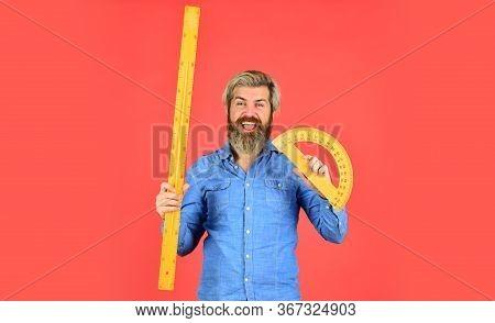 Bearded Man Use Protractor. Education Concept. Study Hard. Measurement Tool. Teacher Of Stem. Calcul