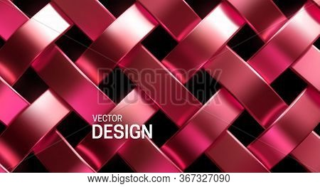 Rose Gold Wicker Pattern. Vector 3d Realistic Illustration. Luxury Vintage Texture. Metal Weave Ribb