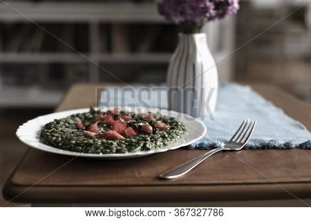 Plate Of Risotto Food. Healthy Food. Rice Food. Plate Of Spinach Risotto. Rice With Spinach Food. It