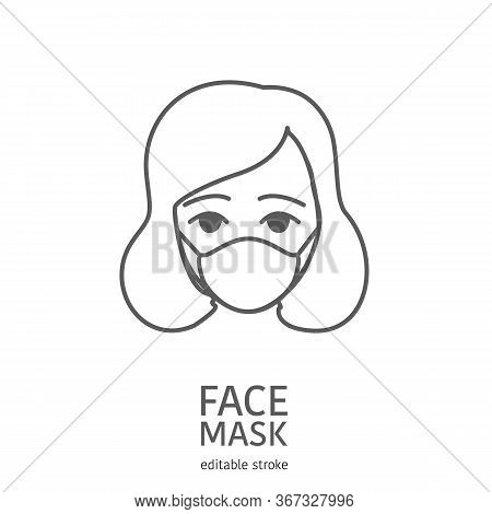 Woman Wearing Facial Protective Mask. Anti Coronavirus Or Disease Concept. Editable Icon. Premium De