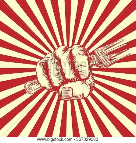 A Hand In A Fist Holding A Spanner Or Wrench In A Vintage Propaganda Poster Woodcut Style