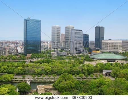 Osaka, Kinki Region, Japan - May 03, 2009: Panoramic Top View On Spring Day Of Cityscape Of Osaka Ci