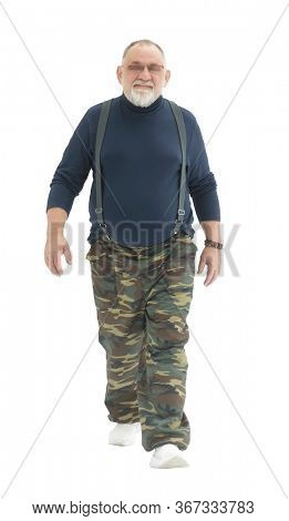 Man walking - isolated over a white background