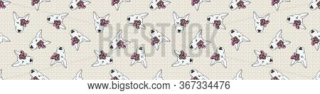 Hand Drawn Cute Bull Terrier Dog Face With Pink Bow Seamless Vector Border. Purebred Pedigree Show D